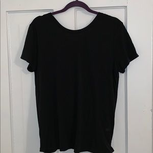 Black tee with fold over back detail